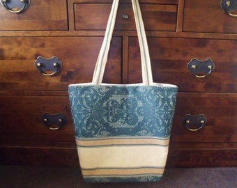 ONE LEFT! Large Shopping Bag/Tote/Farmers Market Bag, Hard Wearing Green & Gold Curtain Material with Matching Purse