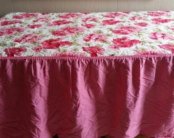 Twin Skirted Floral Reversible Bedspread
