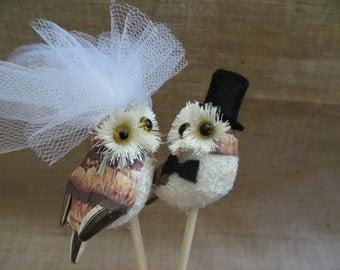 Owl Wedding Cake Topper,  Wedding Cake Topper, Lovebird Cake Topper, Rustic Wedding Cake Topper