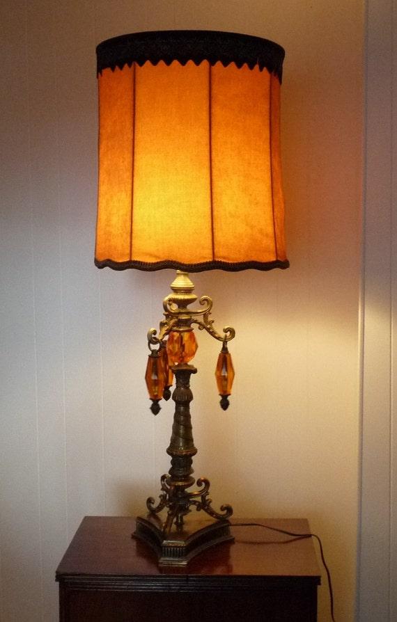 Vintage Mid Century Brass Amp Orange Prism Table Lamp W Crushed