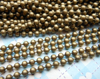 50 pcs Antique Bronze Ball Chain Necklaces - 27inch, 2.4 mm