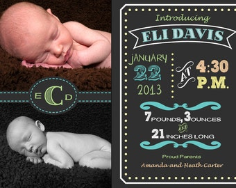 Chalkboard Birth Announcement-Printable