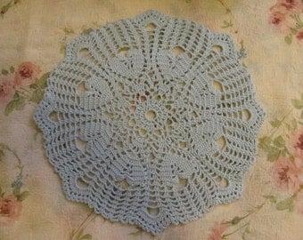 Baby Blue Hearts Crocheted Doily