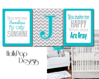 You Are My Sunshine Art Prints Turquoise Gray Nursery Art Nursery Decor Playroom artwork Sunshine Wall Decor Baby Boy Nursery Art