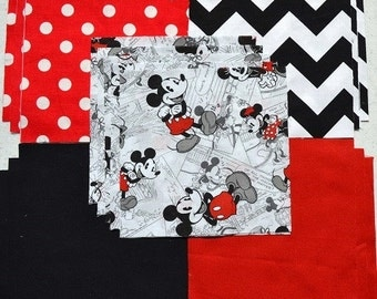 "30 6"" Disney MICKEY & MINNIE MOUSE classic comic Red Dots Black Zigzag Quilt Fabric Squares"