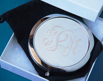 lot of 2 personalized compact mirror bridesmaid gift graduation gift  free custom engraving custom presents compact mirror custom engraving