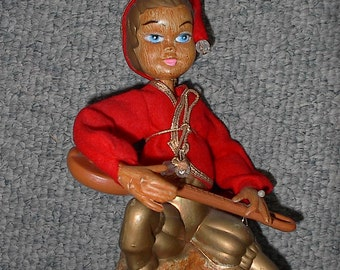 HALF PRICE SALE 1960s Pixie Figurine With Mandolin Made in Hong Kong Was 15.00 Now 7.50