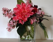 Pink and Purple Silk Dahlia Floral Arrangement