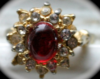 Vintage Adjustable Cabochon Red Stone Ring Surrounded by Rhinestones