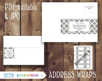 Editable Return address, wrap around address editable PDF and JPG envelope wrap labels - Instant Download - 157