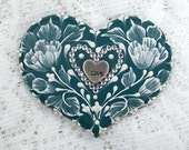Hand Painted Dark Teal MUD Roses Cookie with Rhinestone Bling 16 - MargotTheMUDLady