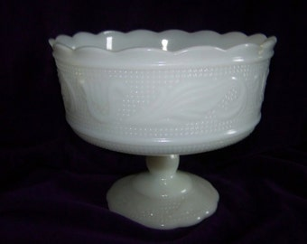 Vintage White Milk Glass Tulip and Leaf Pedestal Bowl by E.O. Brody
