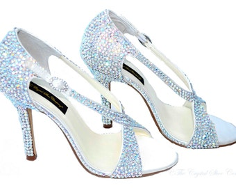 SALE!!! Swarovski Aurora Borealis Ab crystal wedding bridal peeptoe strappy high heel sandals - LAST ONE!!!