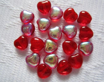 20  Christmas Ruby Red AB Heart Vitrail Transparent Czech Glass Beads  8mm