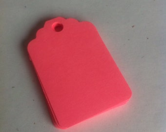 Set of 50 hot pink   Tags , Favor Tags, Treat Bag Tags, Product Tags, Hang Tags, Wish Tree Tags, birthday tags ,