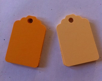 Set of 50 Orange  Tags , Favor Tags, Treat Bag Tags, Product Tags, Hang Tags, Wish Tree Tags, birthday tags ,