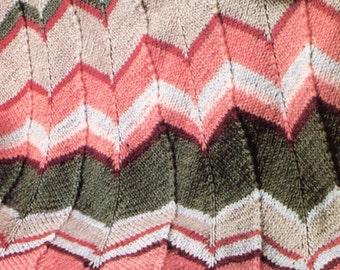 Classic 1970's Chevron Blanket Knit PATTERN