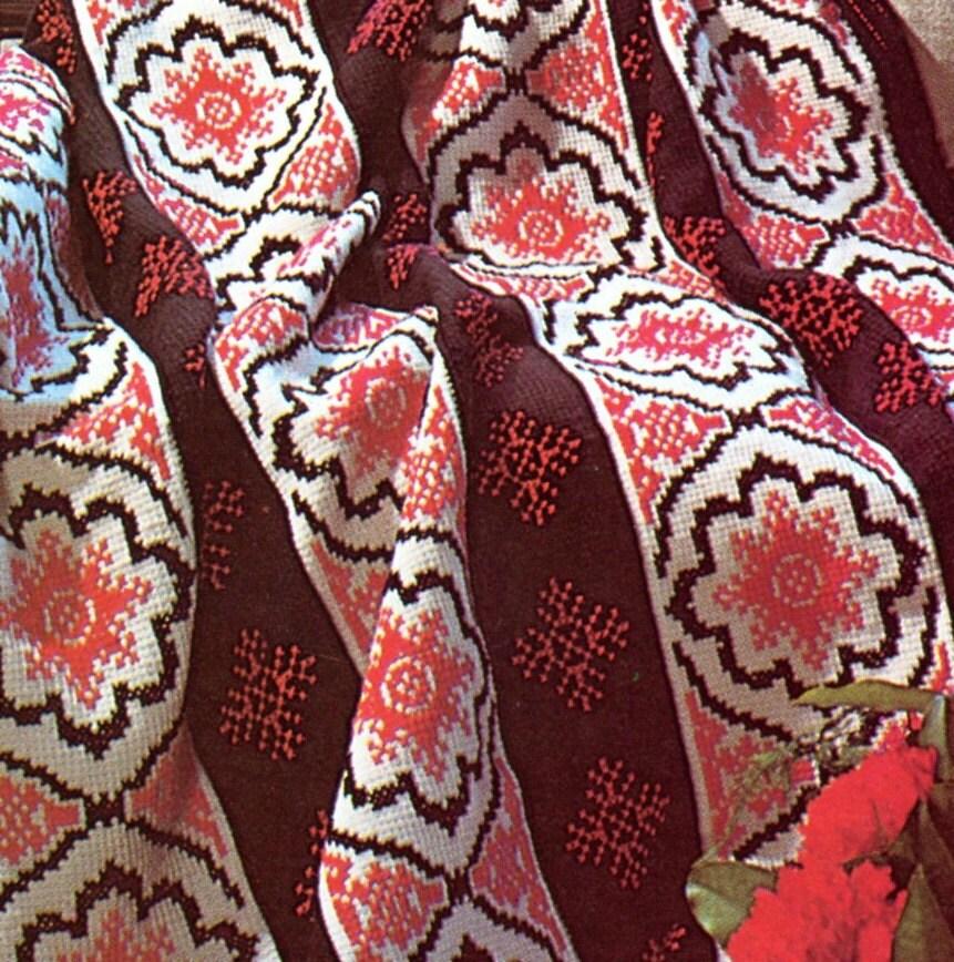 Modern Spanish Afghan PATTERN Crochet Blanket by PearlShoreCat