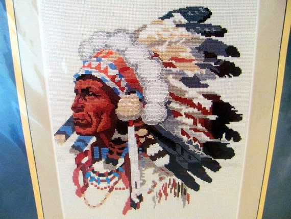 Native American Indian Chief Counted Cross Stitch By