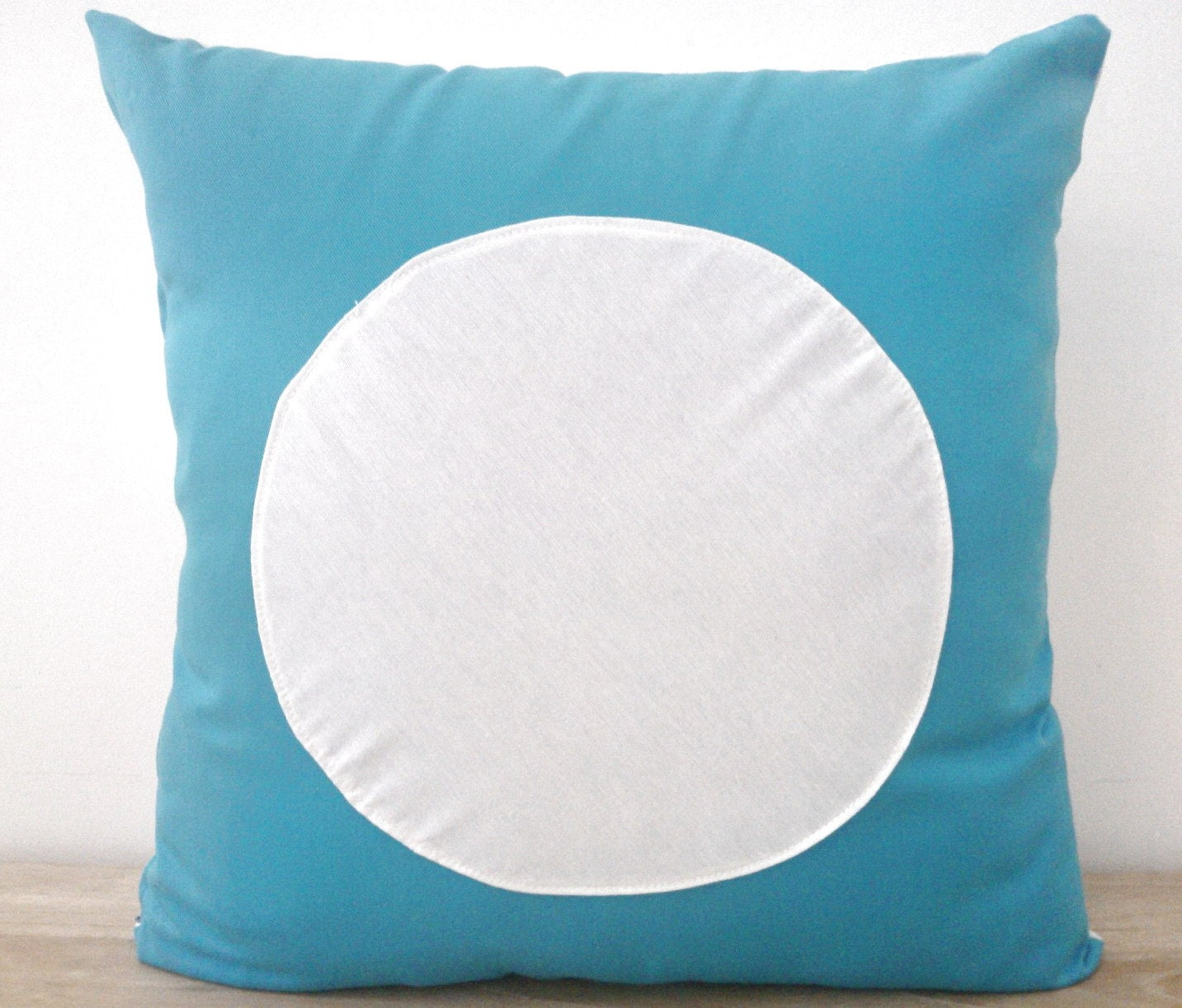 Circle Design Throw Pillows : Throw Pillow, Geometric Modern Home Accent, White Circle on Turquoise Design