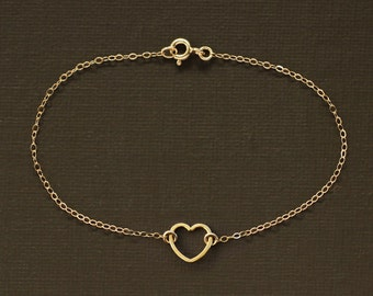 Floating Gold Heart Bracelet