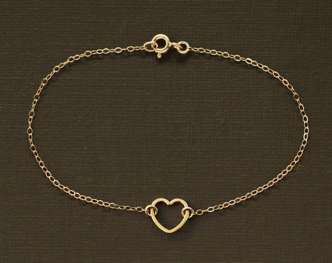 Floating Gold Heart Bracelet