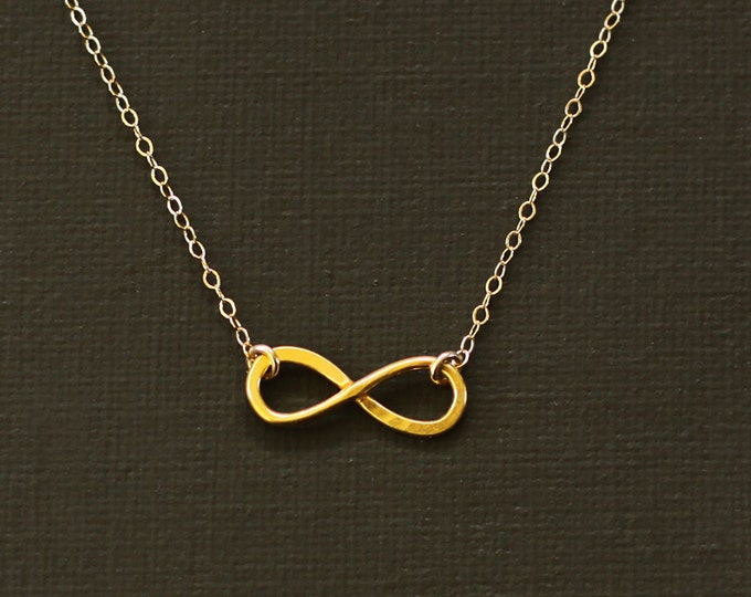 Gold Infinity Necklace - 14K Gold over Sterling Silver