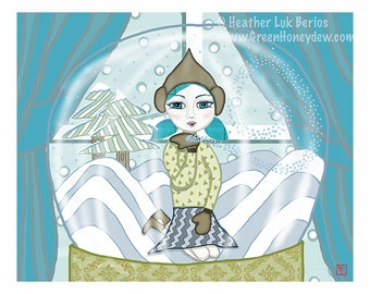 Snow Globe - Limited Edition Fine Art Print - Digital Painting - Fantasy, Whimsical, Girl, Christmas, Holiday Gift, Winter, 8x10