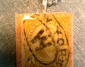 Vintage stamp scrabble tile necklace- USA - AndBeGladInIt