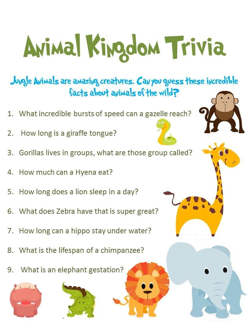 jungle animal baby shower game animal kingdom trivia