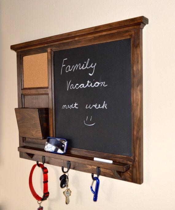Chalkboard & corkboard Mail Organizer letter holder Key / Coat / Hat rack - RusTic - Home Decor