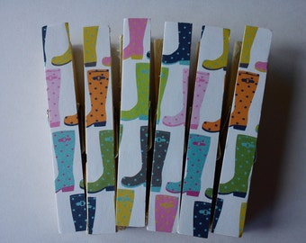 Colourful Wellie Boots magnets clothespins pegs