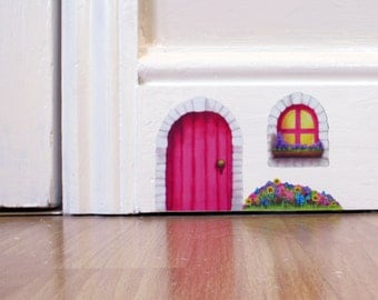 Pink Cottage Fairy Door wall sticker/decal including window and flower bed