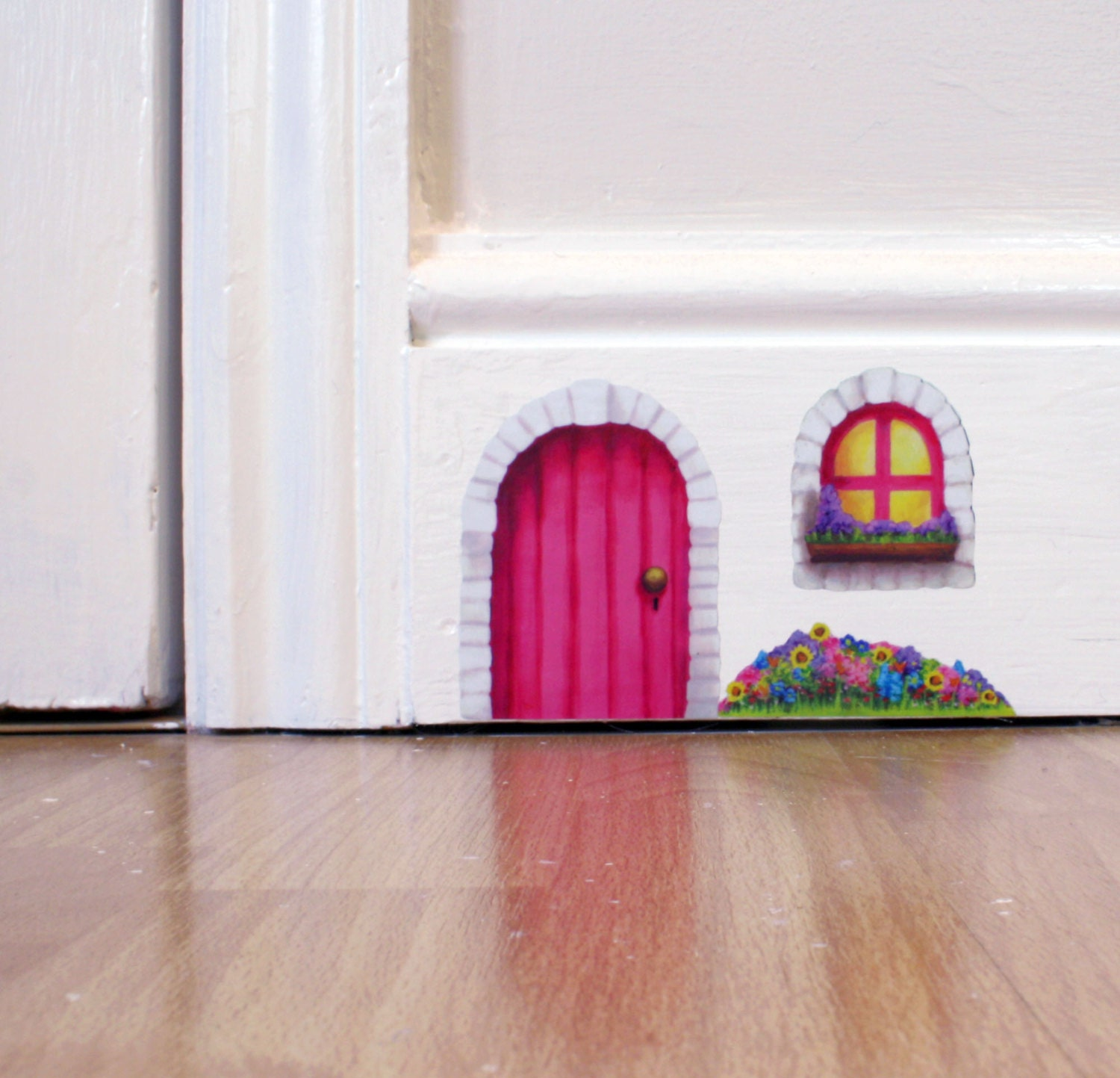 Pink cottage fairy door wall sticker decal including window for Door mural stickers
