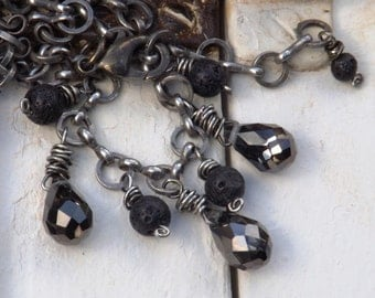 Dark Brown Crystal and Lava Rock Necklace with Antiqued Chain
