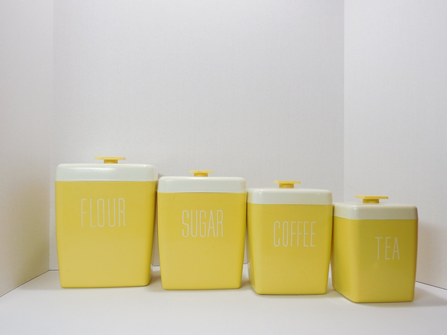 vintage canister set retro canister set yellow canister set