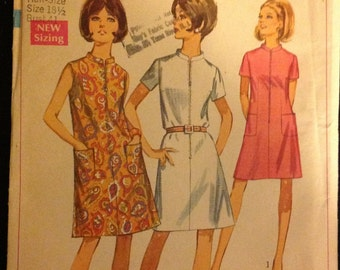 Simplicity 7653 - Misses DRESS in HALF SIZES - Size 18 1/2, Bust 41 - Jiffy, Half Sizing, Easy To Sew