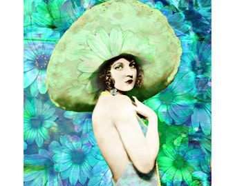 Daisy vintage aqua goddess, digital print, 1920 s fashion print, photomontage, vintage fashion, fine art print, home decor, vintage Vogue