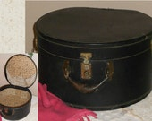 ANTIQUE Hat Box Late 1800s-1920s Lined Leather Handle Beautiful Vintage