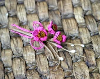 Rustic Fuchsia Shabby Chic Flower Embellishment FL-028