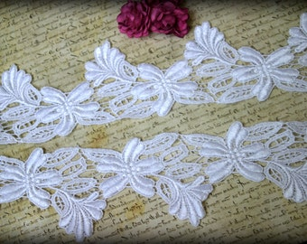 White Venice Lace Trim for Bridal, Altered Couture, Sashes, Headbands, Crafting LA-038