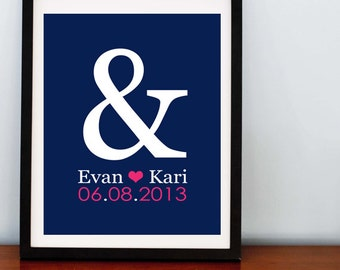 Ampersand & Heart Print with Wedding Date- 8x10 - Any Color Combo you want