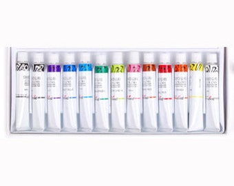 Stained Glass Paint 12 colors tubes set / 7.5ml Glass Painting kit