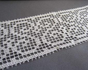 White Crochet Filet Swirl Style Trim -  65mm wide - cut to length - METERS - LOT001