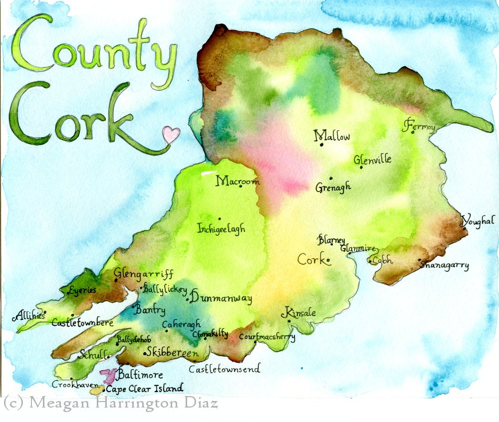 Map of County Cork Map Art Ireland Map County