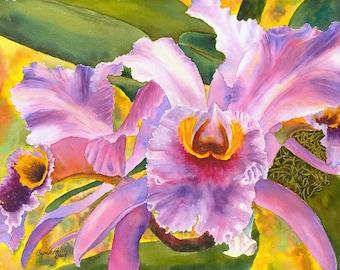 Fushia Orchid original watercolor painting