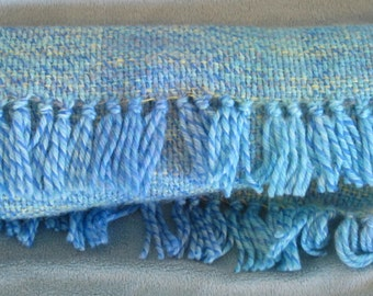 Blues - hand woven baby blue and yellow wool and mohair scarf.