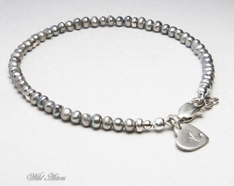 Gray Pearl Bracelet. Personalized. Initial Stamped, Silver Jewelry,  June Birthstone