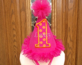 Girls First Birthday Hat -  Hot Pink  And Orange Birthday Party Hat  -