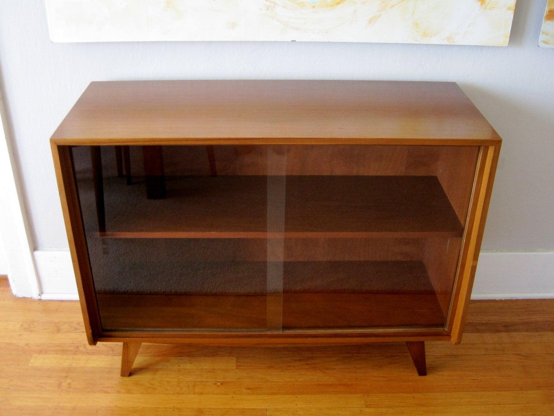 Walnut Mid Century Modern Cabinet Sideboard Media By